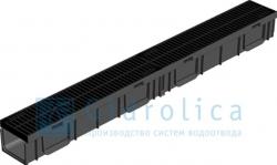 комплект gidrolica light: лоток водоотводный лв - 10.11,5.9,5 - пластиковый с решеткой рв - 10.11.50 пластиковой, кл. а15
