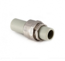 разъемное комб соединение (американка труба-труба) 25 heisskraft серый полипропилен